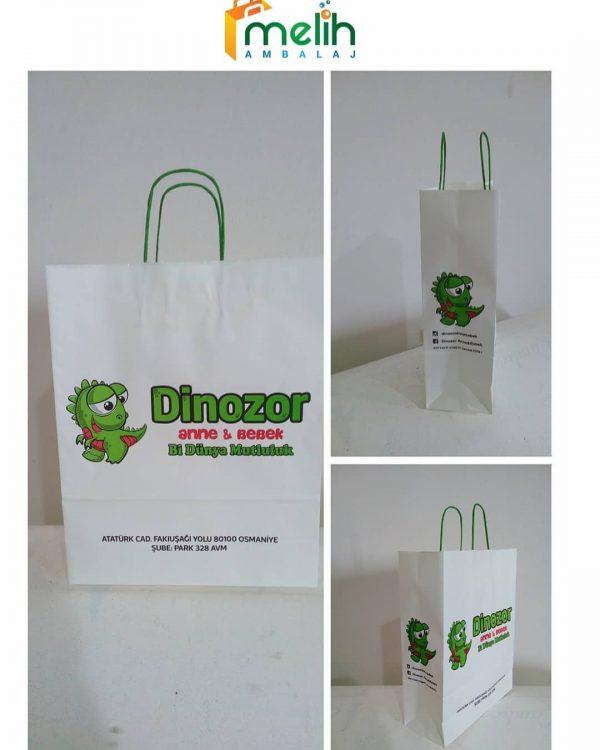 Kraf Taşıma Çantalrı Elbise Kıyafet Mağza Çantaları Logolu